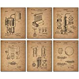Whiskey Patent Wall Art Prints - Set of Six Vintage Whisky Photos