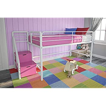 Amazon Com Dhp Junior Twin Metal Loft Bed With Storage