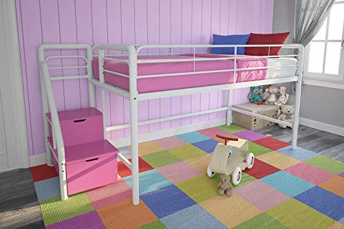 DHP Junior Twin Metal Loft Bed with Storage Steps, Space-Saving Solution, Multifunctional, White with Pink Steps