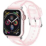 iiteeology Compatible with Apple Watch Band 38mm 40mm, Women Glitter Soft TPU Sports iWatch Band Strap for Apple Watch Series 4/3/2/1 (38mm 40mm Pink/Silver)