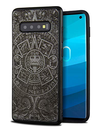 (Compatible for Wood Galaxy S10 Case, Cool Wood Engraving Totem Design Shockproof Drop Proof Ultra Slim Bumper Protective Cover for Samsung Galaxy S10)