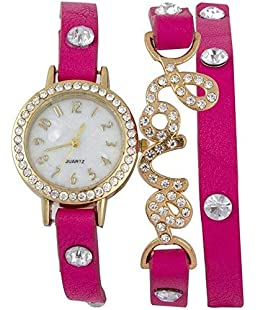 NUBELA Analogue White Dial Girl's & Women's Watch -Love Pink
