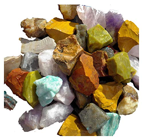 Fundamental Rockhound Products: AFRICA MIX Mixed Bulk Rough Rock for Tumbling Metaphysical Gemstones Healing Crystals Wholesale Lot ... Minimum 10 DIFFERENT Stones... Rose Qtz, Amethyst, Girasol Opal, Brecciated Jasper, Yellow Jasper, Blue Apatite, Green Opal and more (1 lb)
