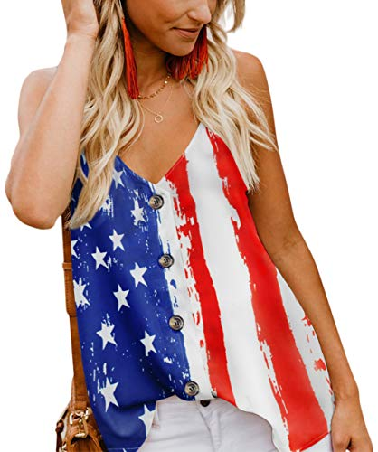 American Flag Tank Top - Angerella American Flag Tank Top for Women Summer USA Classic Sleeveless Blouses,S