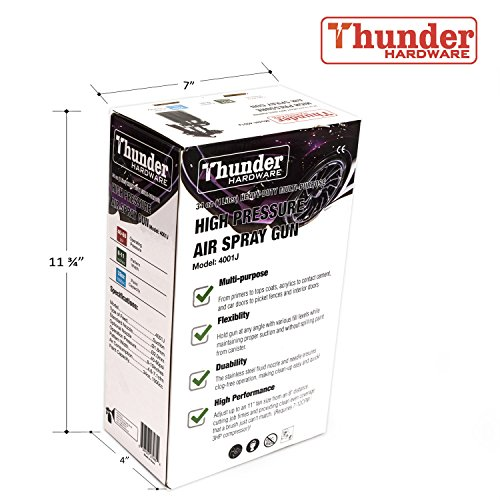 Thunder Hardware 4001J 34 oz Siphon Feed Spray Gun - 1.8mm Nozzle for a variety of low viscosity paints, such as lacquer, enamel, stain, urethane with air flow and paint pattern control knob by Thunder Hardware (Image #4)