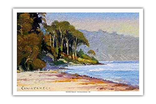 (Pacifica Island Art - Goleta Beach - Santa Barbara, California - from an Original Color Painting by Wade Koniakowsky - Master Art Print - 12in x)