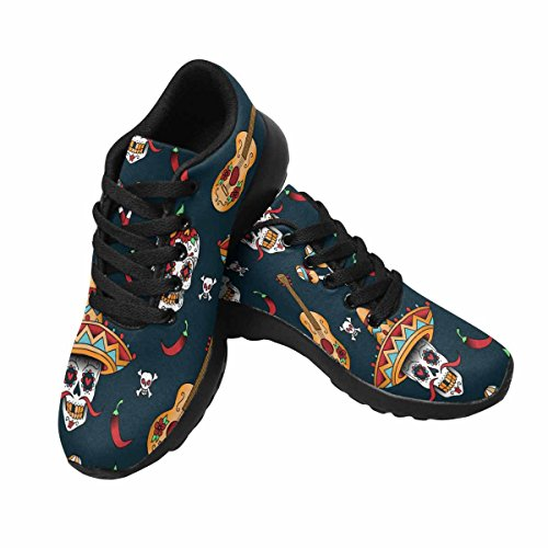 Interestprint Mujeres Jogging Running Sneaker Ligero Go Easy Walking Comodidad Deportes Zapatillas Skulls, Micrófono, Guitarra Y Red Pepper Multi 1