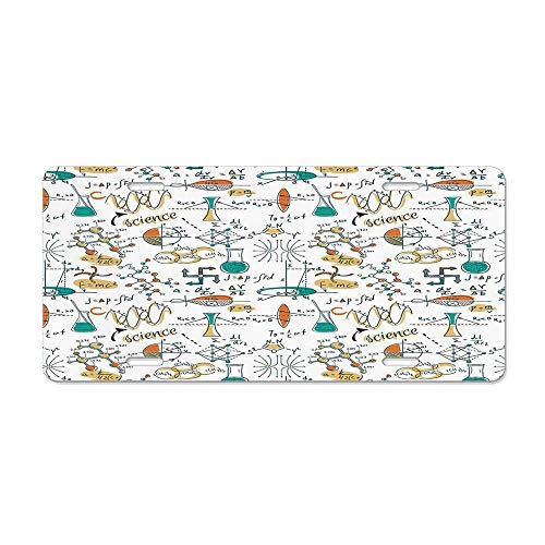(Kingsinoutdoor Doodle,Science Lab Objects Education Themed Drawing Scientific Formulas Biology Chemistry,Multicolor Personalized Novelty License Plates, Custom U.S. Decorative Front )