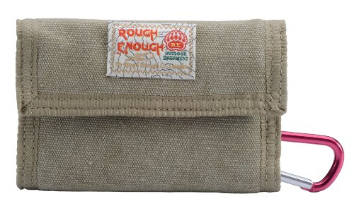 Rough Enough Portable Canvas Trifold Wallet Coin Pouch Change Purse Large Capacity Money Organizer ID Window Credit Card Holder with Zippered Pocket for Outdoor Travel Trip