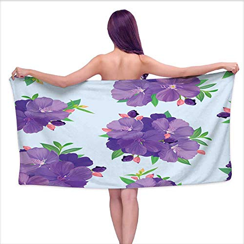Denruny Print Bathroom Accessories Set Seamless Pattern with Beautiful Purple Princess Flower or tibouchina urvilleana and Leaf on Blue Background,W31 xL63 for Bathroom Striped