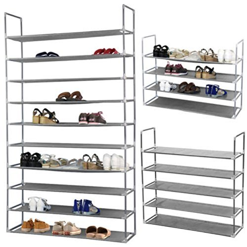 Metal Rack Shoe Tower Storage 10 Tier 50 Pair Organizer Standing