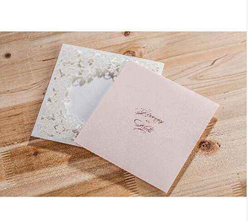 Wishmade CW5197 White Lace Window Square Invitation cards, Business & birthday party & Wedding Invitation cards,Customizable Free (100)