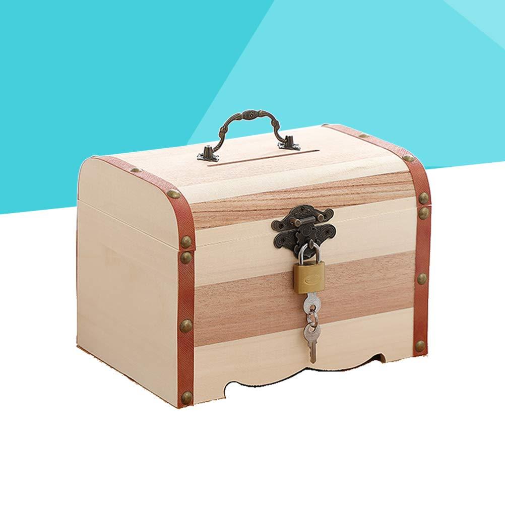 Vosarea Wood Coin Saving Bank Box Mini Wooden Money Piggy Bank Treasure Stash Chest Box Organizer with Lock