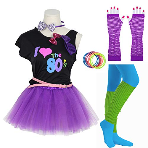 Group Halloween Costumes For Teens (Gilrs 80s Costume Accessories Fancy Outfit Dress for 1980s Theme Party Supplies (Purple, 7-8)