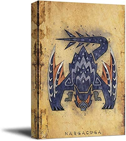 Póster de lienzo Aryago Monster Hunter World de 30,5 cm x 40,6 cm con enmarcado Nargacuga Hunter Notas Canve Art Office Decoración del hogar Artwork, estirado y listo para colgar