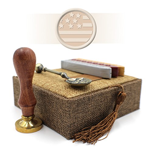(Wax Stamp Gift Set with Retro Box and Spoon - US Flag Seal)