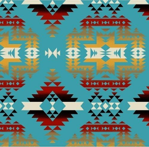 Fleece Canyon Aztec Southwest Turquoise Fleece Fabric Print by the Yard ()