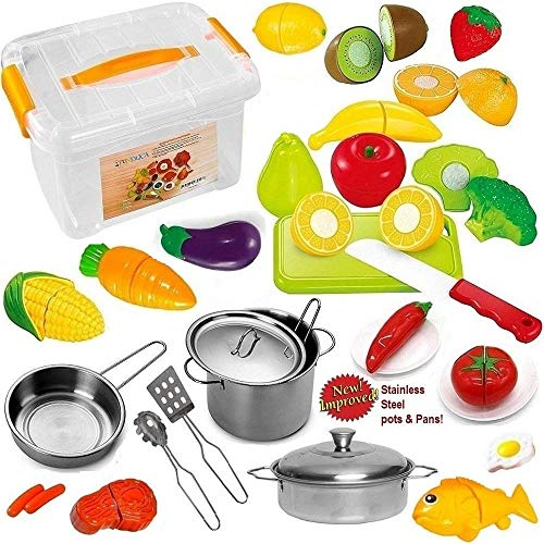 FUNERICA Pretend Play Food Set for Kids - with Beautiful Storage Container - Set Includes Cuttable Play Fruits and Vegetables - Poultry - 3 Mini Stainless Steel Toy Pots and ()