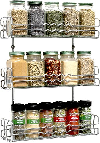 DecoBros 3-Tier Wall Mounted Spice Rack Kitchen Organizer Chrome (Large Image)