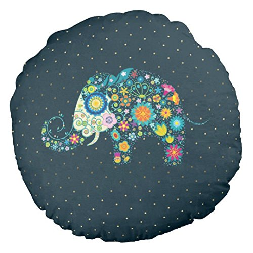 Cute Colorful Floral Elephant Small Round Pillows for Chairs Nursery Pillow Decorative Baby Boy Room