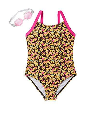 a5407c5677 Emojination Little Girls 1-pc Emoji Swimsuit with Goggles