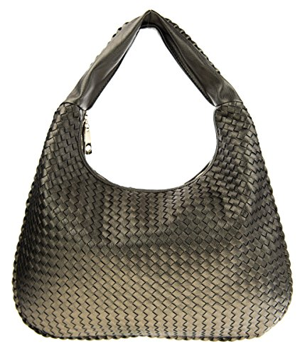Canal Collection Classic PVC Leather Woven Hobo Bag (Pewter) (Pewter Leather Woven)
