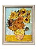 "DecorArts - Twelve Sunflowers, Vincent Van Gogh Art Reproduction. Giclee Print& Framed Art for Wall Decor. 20x16"", Framed Size: 23x19"""