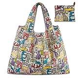 Misifeng Large capacity environmental protection waterproof cartoon folding portable shopping bag storage bag (C, 58 * 68CM)