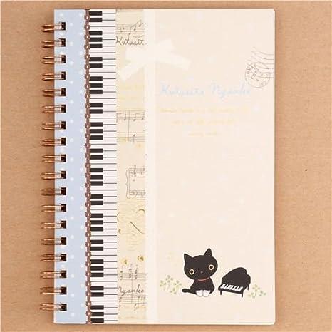 Libreta anillas cuaderno gato Kutusita Nyanko notas musicales rayas piano: Amazon.es: Juguetes y juegos
