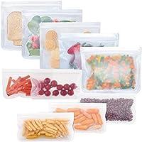 Reusable Storage Bags 10 Pack, FDA Food Grade Ziplock Lunch Bags, Leakproof Freezer Bag for Snacks, Fruits, Sandwiches…