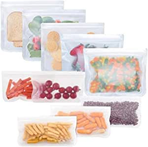 Reusable Storage Bags 10 Pack, FDA Food Grade Ziplock Lunch Bags, Leakproof Freezer Bag for Snacks, Fruits, Sandwiches, Make up, Travel, Extra Thick for Organization (5 sandwich bags & 5 snack bags)
