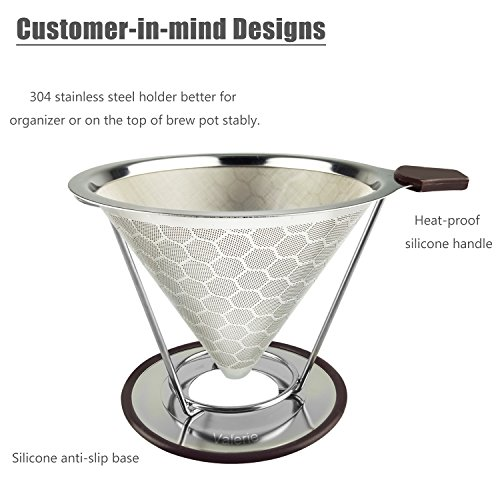 Stainless Steel Reusable Coffee Filter Pour Over Coffee Cone Dripper Permanent Honeycombed Mesh Basket 4 Cups Bonus Removable Cup Stand and Brush By Valerie by Valerie (Image #2)
