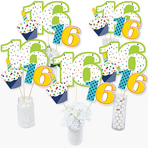 16th Birthday - Cheerful Happy Birthday - Colorful Sweet Sixteen Birthday Party Centerpiece Sticks - Table Toppers - Set of 15