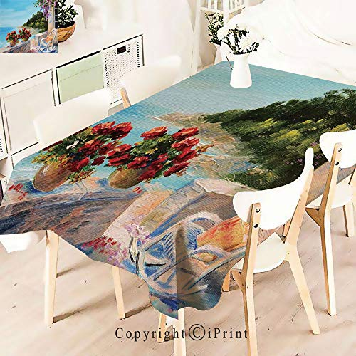 Pretty Pattern Multi Functional Table Cloth Table Cover,Balcony with Cosy Rocking Chair Flowers for Party Picnic Dining Weddings Christmas,W55 xL71,Multicolor ()