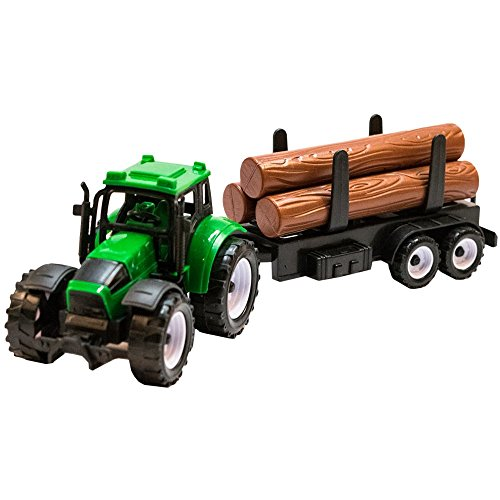 TukTek-Kids-First-Toy-Construction-Tractor-and-Log-Trailer-Friction-Push-Farm-Truck-for-Boys-Girls