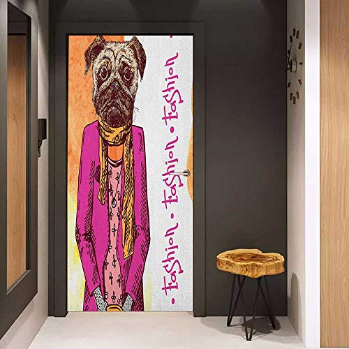 Onefzc Door Wallpaper Murals Pug Fashion Icon Dog with Cool Clothes Scarf Necklace Jacket Handbag Tainted Background WallStickers W38.5 x H79 Hot Pink Amber ()