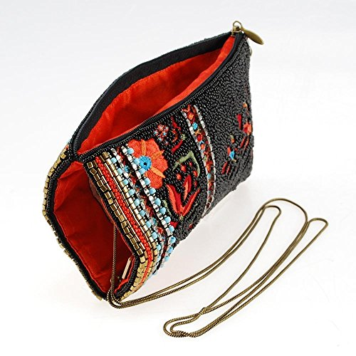 Floral Phone Multi Beaded Embroidered Frances Noche Pattern La Viva Crossbody Mary Bag HqS4y