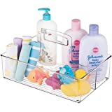 mDesign Nursery Storage Caddy Divided Bin - BPA Free - 2 Section Tote with Built-in Handle for Organizing Bottles, Spoons, Bibs, Pacifiers, Diapers, Wipes, Baby Lotion - Medium, Clear