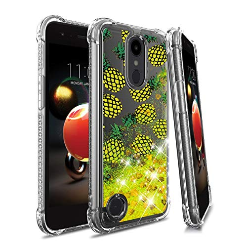LG Aristo 2 Case,Aristo 3/Aristo 2 Plus/3 Plus/K8 2018/K8+/Tribute Empire/Tribute Dynasty/Zone 4/Fortune 2/Risio 3/Rebel 4/Phoenix 4/K8S,Glitter/Sequin Liquid Quicksand Waterfall Shockproof-Yellow