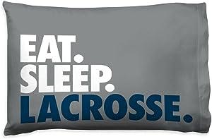 Eat Sleep Lacrosse Pillowcase   Guys Lacrosse Pillows by ChalkTalk Sports   Gray