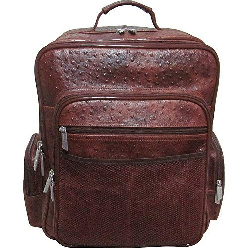 AmeriLeather CEO Leather Backpack (Brown Ostrich Print)