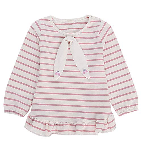 Littay Todder Kids Baby Girls Striped Cartoon Bow Tops Ruffles T Shirt Clothes Outfits
