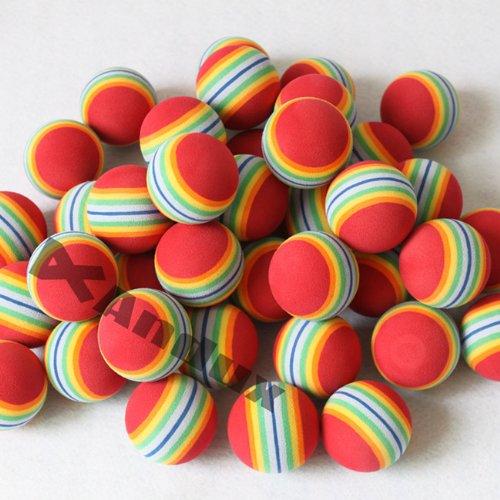 Andux 100 Golf Rainbow Practice Balls Red, Outdoor Stuffs