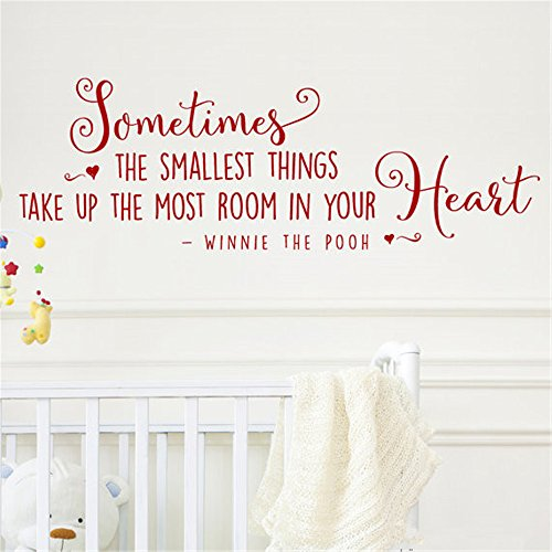 siyjl Room Wall Decor Stickers Sometimes The Smallest Things Winnie The Pooh Quote Nursery Design Sticker Peel and Stick Removable Wall Stickers for Kids Nursery Bedroom Living Room ()