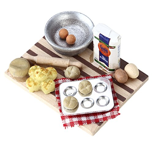 - TOYMYTOY 1:12 Dollhouse eggs Food Kitchen Miniature Milk Bread On Board Mini Furniture Model Pastry Station Toy Decor