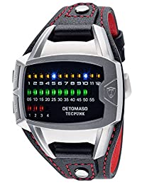 DETOMASO Tecpunk Mens Digital Wrist Watch Silver Stainless Steelcasing Black Leather Strap Binary Look With Stylish LEDs DT-YG106-A