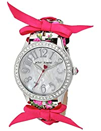 Betsey Johnson Women's BJ00131-77 Woven Ribbon Floral and Stripe Printed Strap Watch