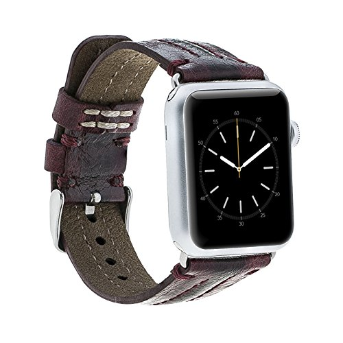 Hardiston Leather Band for Apple Watch | High-Line Genuine Leather Replacement Strap for iWatch Series 3 / Series 2 / Series 1 / Edition/Sport 38mm (Burgundy)