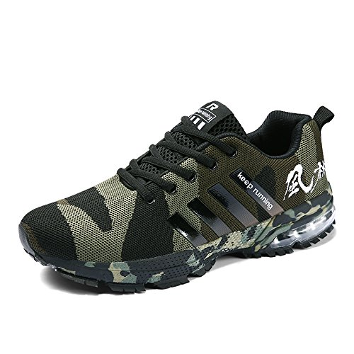 IKENIP Men Women Running Shoes Air Trainers Fitness Casual Sports Walk Gym Jogging Athletic Sneakers Camouflage Green