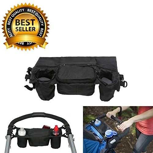 #1 Best Quality Waterproof Stroller Organizer, Stroller Accessories, Universal Black Baby Diaper Stroller Bag, Stroller Cup Holder, Fits Most Strollers. by Allezintl